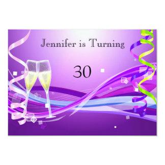 Couleur de pourpre d'invitation d'anniversaire carton d'invitation  12,7 cm x 17,78 cm