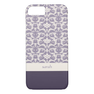 Couleur florale de coutume de motif de damassé coque iPhone 7