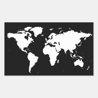 couleur personnalisable de ~ de cartes du monde autocollant rectangulaire