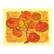 couleur pour aquarelle de groupe de tomate cartes postales