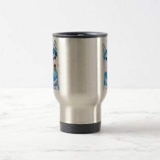 Couleur pour aquarelle enrouée bleue de chiot mug de voyage