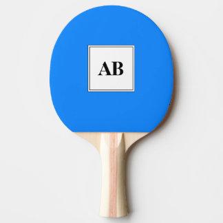 Couleur solide bleue azurée avec le monogramme raquette tennis de table