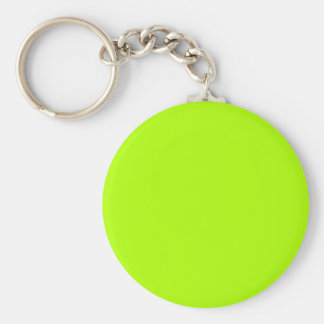 Couleur solide verte fluorescente porte-clé rond