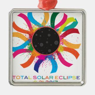 Couleur totale des textes de couronne de l'éclipse ornement carré argenté