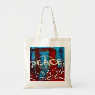 Couleurs abstraites de paix bleu, rouge et blanc sac en toile budget