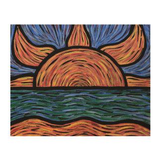 Couleurs colorées d'abrégé sur coucher du soleil impression sur bois