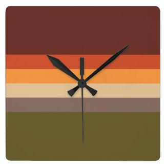 Couleurs d'automne - jaune orange rouge Brown vert Horloge Carrée