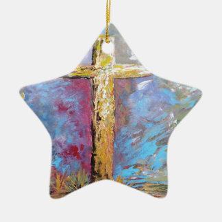 Couleurs de la croix ornement étoile en céramique