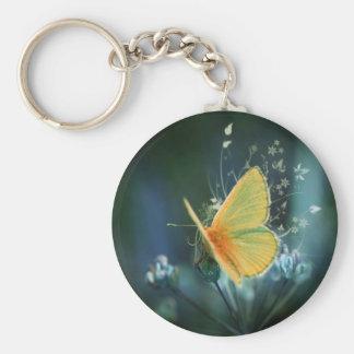 couleurs de papillons d'arc-en-ciel porte-clé rond