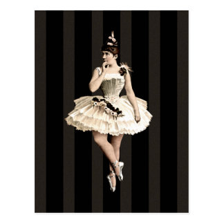 Couleurs foncées de ballerine vintage cartes postales