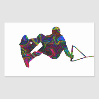 Couleurs sauvages de Wakeboarder Sticker Rectangulaire