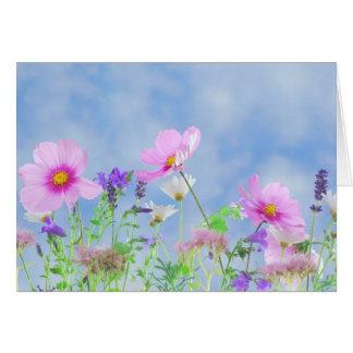 Couleurs sensibles de jolies fleurs cartes de vœux