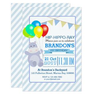 Coup d'anniversaire d'aventure de ballons carton d'invitation 8,89 cm x 12,70 cm