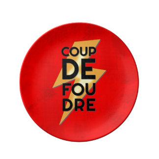 Coup de Foudre - Français de grève surprise Assiette En Porcelaine