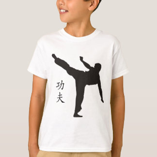 Coup-de-pied/kanji élevés de Kung Fu T-shirt