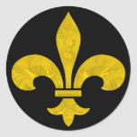Coupe de feuille d'or de Fleur De Lis Sticker Rond