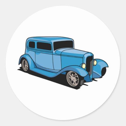 Coupé de hot rod (bleu) autocollant rond