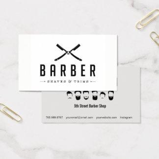 Coupe de salon de coiffure et carte de visite
