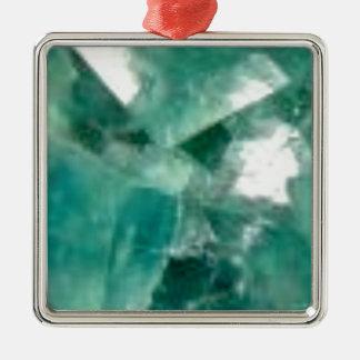 coupes d'émeraude ornement carré argenté