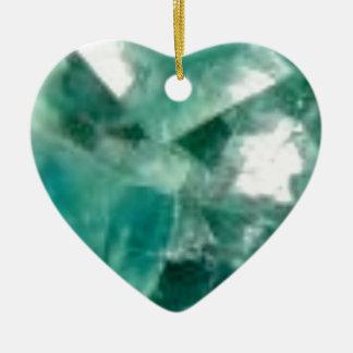 coupes d'émeraude ornement cœur en céramique