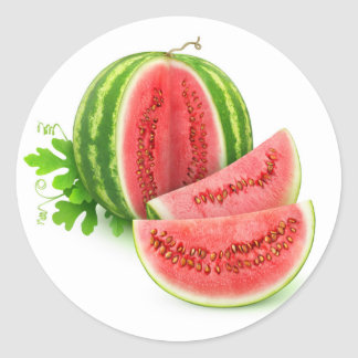Coupez la pastèque sticker rond
