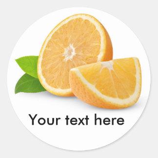 Coupez les fruits oranges sticker rond