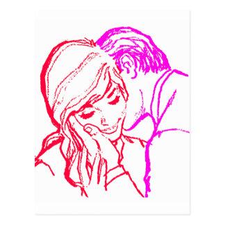Couples 60s Romance de mariage vintage de kitsch Carte Postale