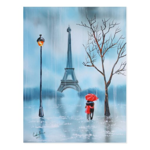 couples la peinture de paris de tour eiffel cartes