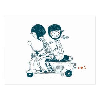 Couples d'amour sur le dessin carte postale