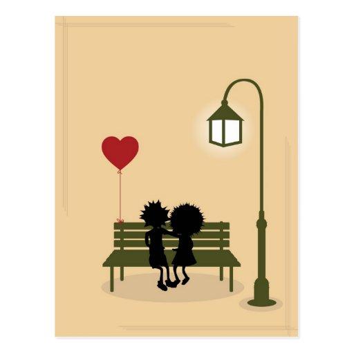 couples dans l'amour carte postale
