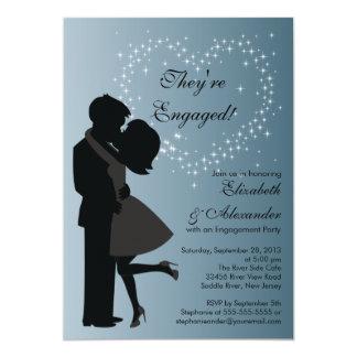 Couples de baiser mignons en partie de fiançailles carton d'invitation  12,7 cm x 17,78 cm