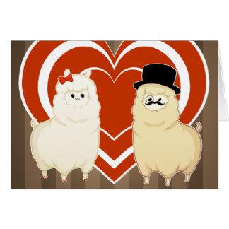 Couples de fantaisie mignons d'alpaga carte de vœux