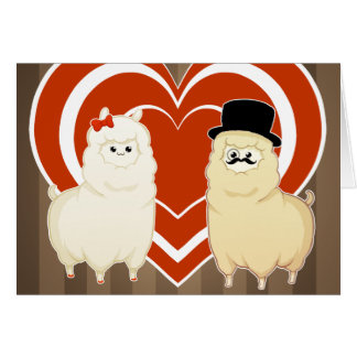 Couples de fantaisie mignons d'alpaga cartes