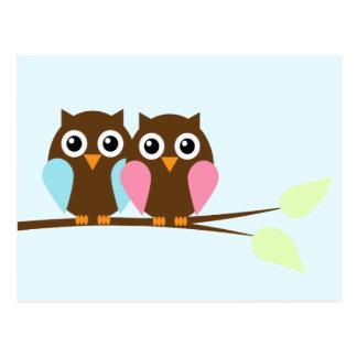 Couples de hibou sur une branche cartes postales
