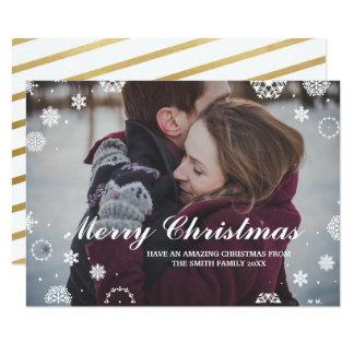 Couples de Noël de carte photo de vacances de Noël