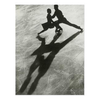 Couples de patinage de glace carte postale