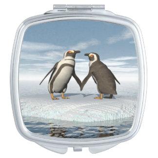 Couples de pingouins miroir compact
