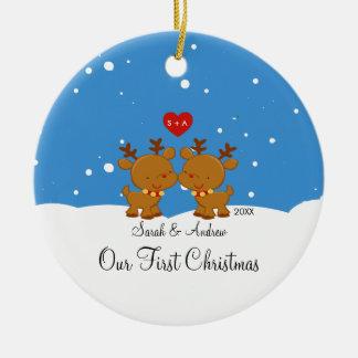 Couples de renne notre premier ornement de Noël