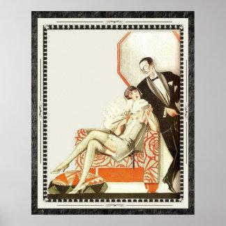 Couples décadents d'avant-garde d'art déco des ann poster