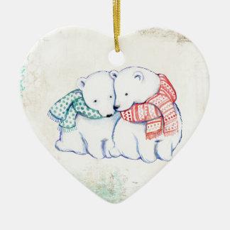 Couples d'ours blancs ornement cœur en céramique