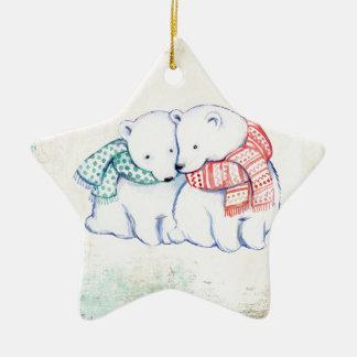 Couples d'ours blancs ornement étoile en céramique