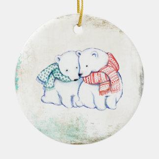 Couples d'ours blancs ornement rond en céramique