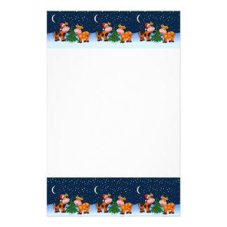 Couples doux de vache à Joyeux Noël par l'arbre de Papier À Lettre Personnalisable