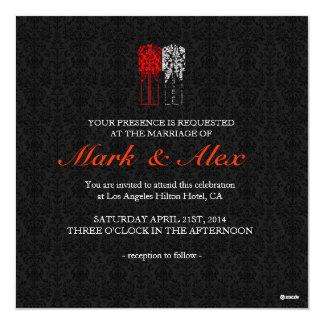 Couples du même sexe blancs et rouges noirs carton d'invitation  13,33 cm