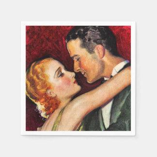 Couples fascinants vintages de Hollywood - rouge Serviettes Jetables