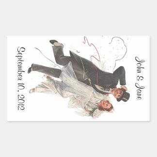 Couples heureux de rétro de mariage d'autocollant sticker rectangulaire