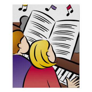 Couples jouant le piano affiche