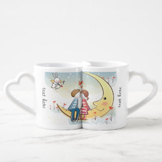 Couples lunatiques dans l'amour se reposant sur la mug