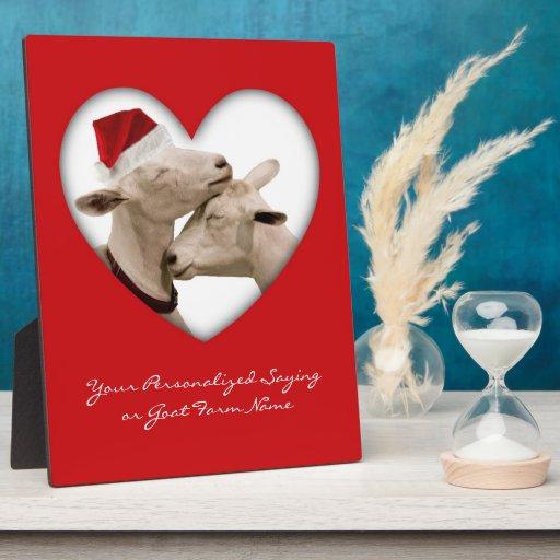 Couples mignons de chèvre de Noël Photo Sur Plaque