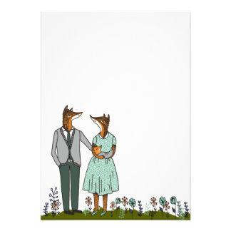 Couples mignons de Fox/nouveau bébé Anouncement Bristols